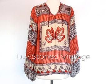 70s Vintage Supercraft Indian Cotton Gypsy Gauze Festival Boho Hippie India Blouse Top Shirt | XS - SM | 1033.7.8.15