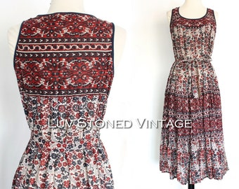 70s Vintage Kaiser Pakistan Indian Cotton Boho Hippie Tank Ethnic India Festival Midi Tent Dress with Belt | XS - SM | 1040.7.13.15
