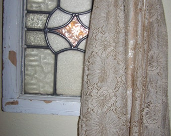"Vintage Lace, Gold, Beautiful Pattern, 59"" Long x 35"" Wide, 1 Scalloped Edge,FREE SHIPPING"