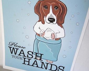 Wash Your Hands Basset Hound - 8x10 Eco-friendly Print