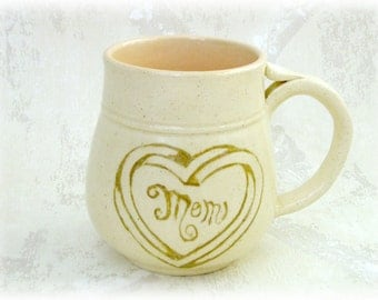 Impossible Heart Mug for Mom in Cream and Peach