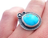 Morenci Turquoise Ring, Sterling Silver Ring, Freeform Turquoise, Oxidized Silver and Turquoise Statement Ring Size 7