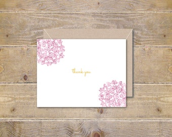 Thank You Cards, Thank You Card Set, Set of Thank You Cards, Blush Pink, Thank You Notes, Thank You Note, Wedding, Bridal Shower, Gold