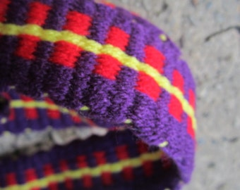 """D-Ring Belt - Purple with yellow striped red outside step - 58"""" long x 1 1/2"""" wide. Ready to Ship. Hand woven on homemade inkle loom."""