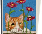 Curious Cat Greeting Card by Tracy Lizotte