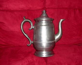 19th Century PEWTER Coffee Serving Pot Colonial Gooseneck