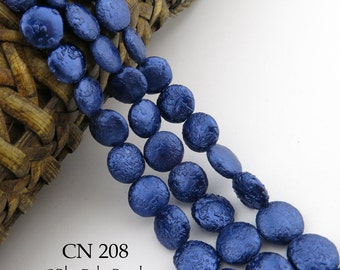 10mm Dark Blue Czech Glass Coin Pearl Beads (CN 208) BlueEchoBeads 15 pcs