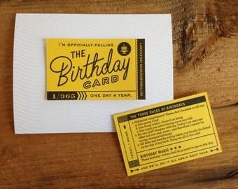 "Letterpress Birthday Card - ""I'm Pulling the Birthday Card"""
