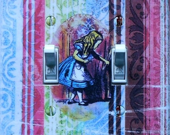 Alice Double Switchplates & MATCHING SCREWS- Alice wall plate Wonderland bedroom wall decor Alice bedroom wall decorations Alice bedroom art