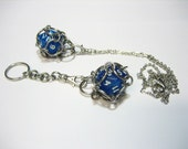 Interchangeable d20 Keychain or Necklace (Glitter Blue) - Stainless Steel Chainmaille - Gifts for Geeks