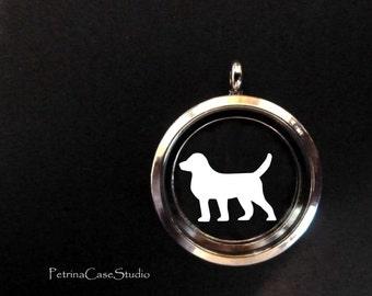 Dog Papercut in Glass Pendant Keepsake -Design 1419
