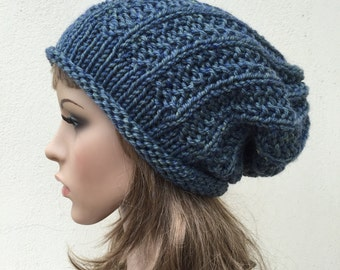 Hand knit hat woman hat Oversized Chunky Wool Hat slouchy hat blue hat