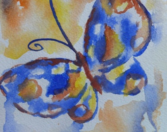 The Brightest Butterfly original watercolor painting card 5x7
