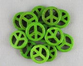 Green Magnesite 15mm Peace Sign Beads - 13 pieces #A15-16