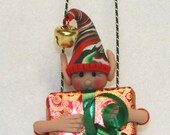 Christmas Elf Ornament Polymer Clay Magnetic Free standing
