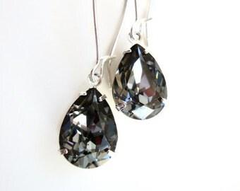 Black Diamond Crystal Drop Earrings - Crystal Night - Bridal Jewelry - designed with SWAROVSKI® Crystals
