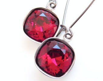 Ruby Red Crystal Drop Earrings on Gunmetal - designed with SWAROVSKI® Crystals
