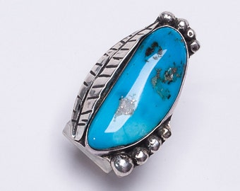 Long Turquoise Ring - 70s Natural Morenci Sterling - Navajo Signed - sz 7