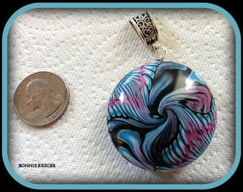 Black and Turquoise Polymer Clay Pendant