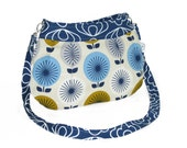 Organic Handmade Little Sophisticate Cross Body Sling Purse - Navy Blossom with Retro Flowers - Free Shipping