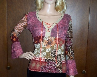 70s Gypsy hippie shirt with lacing and lace bell sleeves spandex rayon multicolored floral patchwork purple pink orange brown white