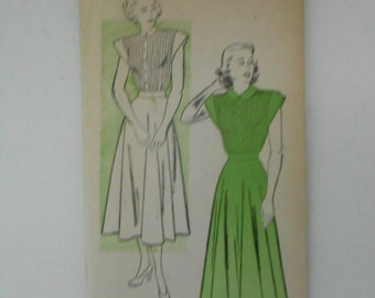 Vintage 30s Tucked Dress Pattern New York 284 Size 14 Bust 32  UNCUT