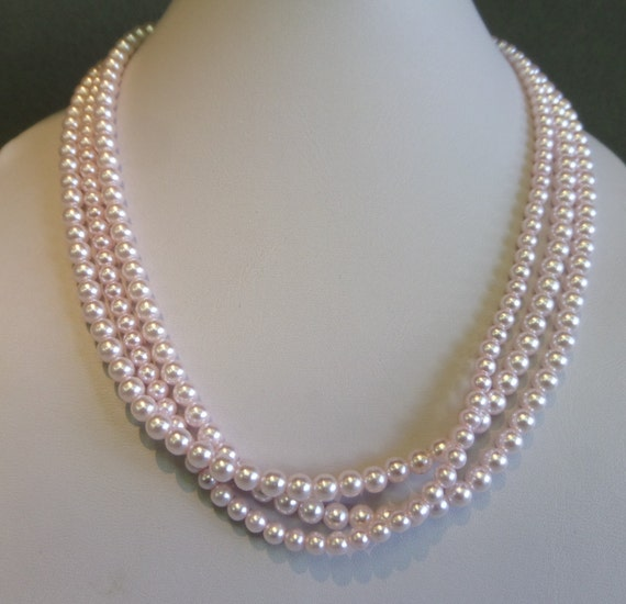 Multi Row Pearl Necklace: Three Row Multi Strand Light Pink Pearl By