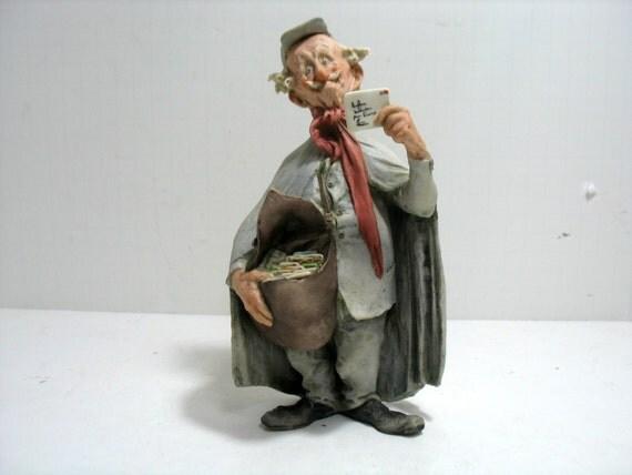 Vintage Capodimonte Giuseppe Cappe Italy Postman Porcelain Figurine Mailman Sculpture