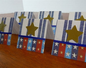 Gold Stars and Blue Stripes Mini Cards 2x2 (6)