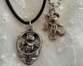 Set of 2 Silver Pewter Grateful Dead Bear Necklaces