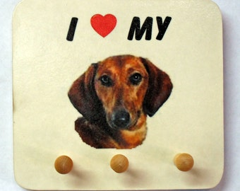 "Dachshund Leash holder (I Heart My ""Breed photo"") Key and Leash Holder"