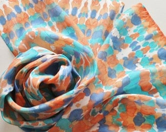 Hand Painted Silk Scarf - Handpainted Scarves Southwest Turquoise Aqua Navy Blue Orange Peach White Tie Dyed