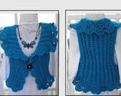 CROCHET VEST PATTERN, Women and Children, Incredibly Easy-Plain or Frilly Edge, #786, Shrug, Jacket, Cardigan Sweater, Sleeveless, Peacock