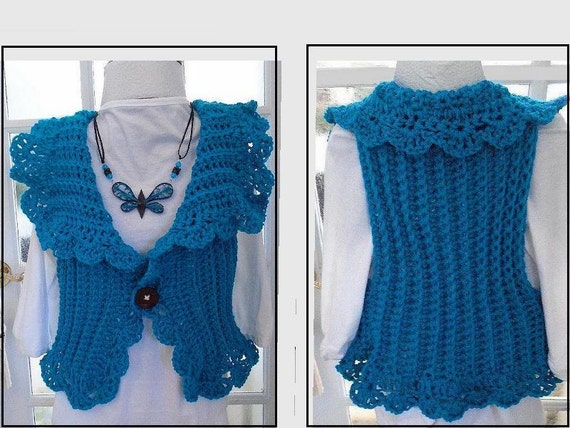Crochet Patterns For Childrens Vests : Womens Vest CROCHET PATTERN Women and Children by Hectanooga