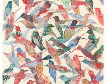 "Hummingbirds- 8"" x 10"" Archival Print"