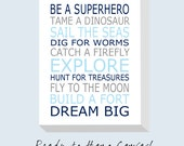 "Reserved for Noelle - Be A Superhero Canvas - Baby Boy Nursery Art Baby Boy Nursery Decor - 20x24 (0.75"" thickness)"