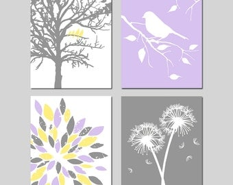 Yellow Purple Grey Gray Baby Girl Nursery Art Quad - Birds in a Tree, Bird on Branch, Dandelions, Abstract Floral - Set of Four 8x10 Prints