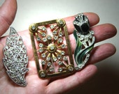 Antique BROOCH- Pin LOT- Rhinestone Brooch- Cottage Chic Decor- Flower- Vintage Jewelry