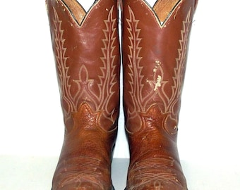 Tan Brown Cowboy boots Tony Lama brand -  size 11.5 D - distressed western wear