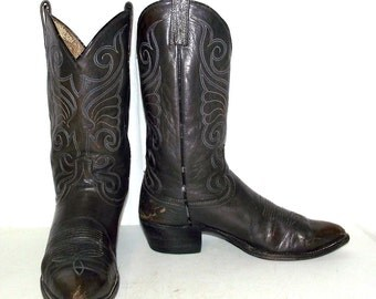 Steel Grey Cowboy boots mens size 11 B - Dan Post - narrow - western wear