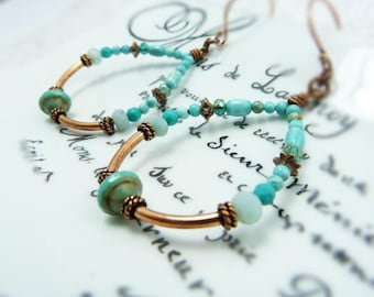Turquoise copper hoop earrings - boho large hoop