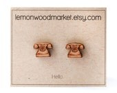 Telephone earrings - alder laser cut wood earrings