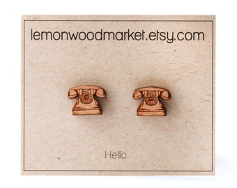 Telephone earrings - alder laser cut wood earrings