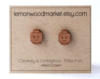 Lego earrings - alder laser cut wood lego earrings