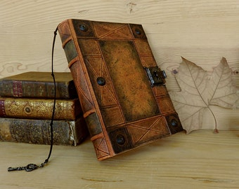 """Leather Journal with Lock and Key, Handpainted - """"Marbled"""""""