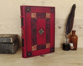Leather Journal / Blank Book - Bright Red Leather, Passions