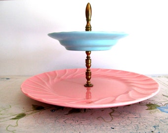 Poppy Trail by Metlox Two Tier Tidbit Tray Yorkshire Pattern Pink Blue 1940s Vintage Serving Tray