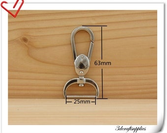 4 pcs 1 inch Swivel hook  Purse hook  Nickel   J7