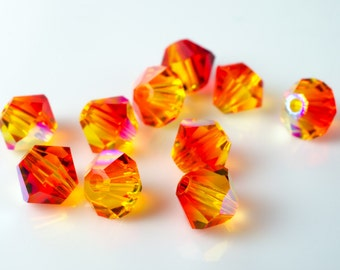 Fire Opal AB Bicone Crystal Beads