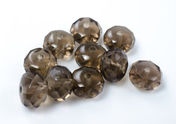 Smoky Quartz Faceted Rondelle Beads